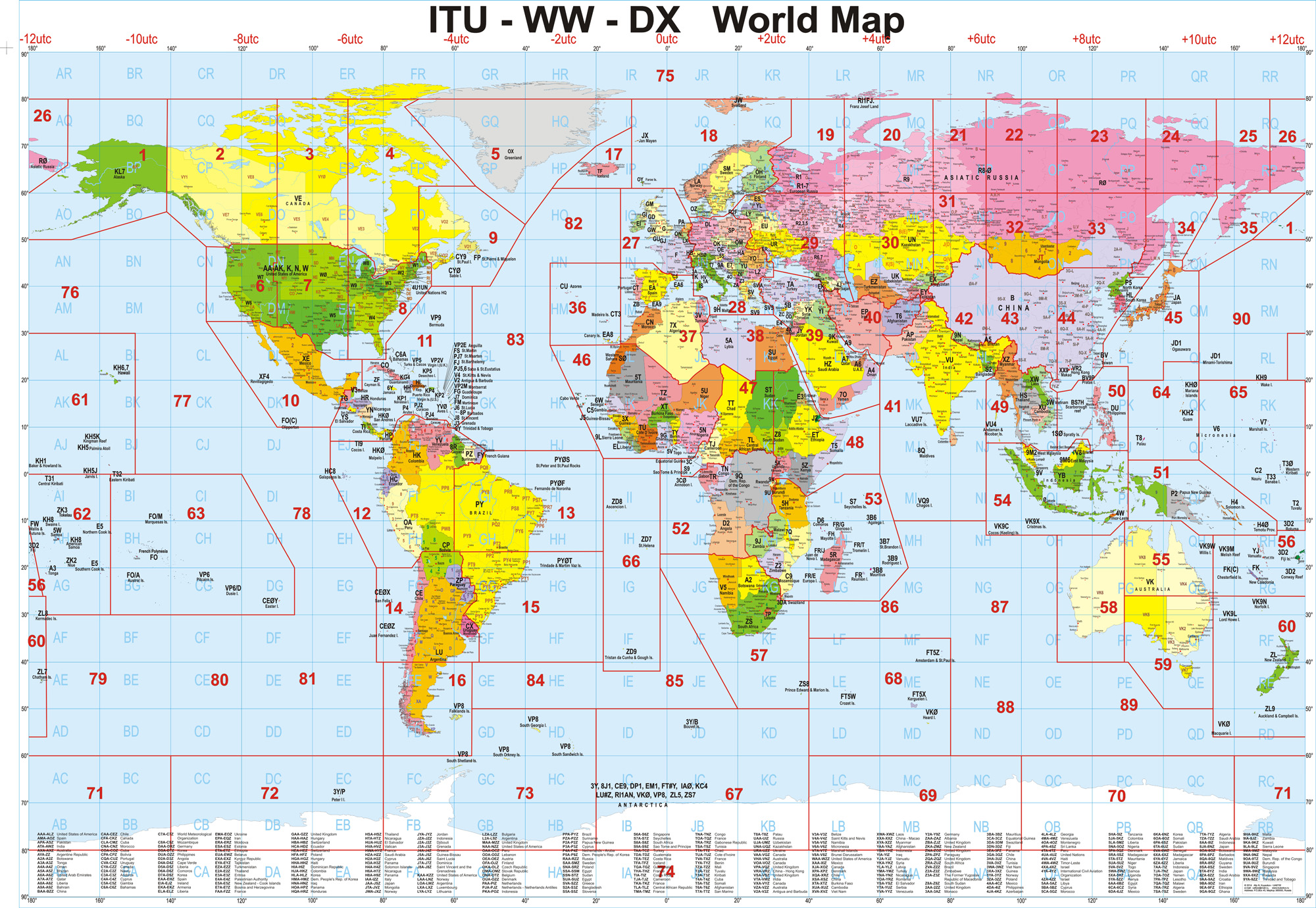 CQ Zones WW Locators DX Countries World Map With ITU - List of world countries and capitals